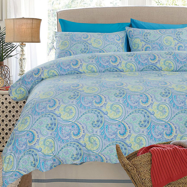 Wholesale 2015 New Blue Flowers Printed Europe Bed Sheet Duvet Cover Bedding Sets Home Textile