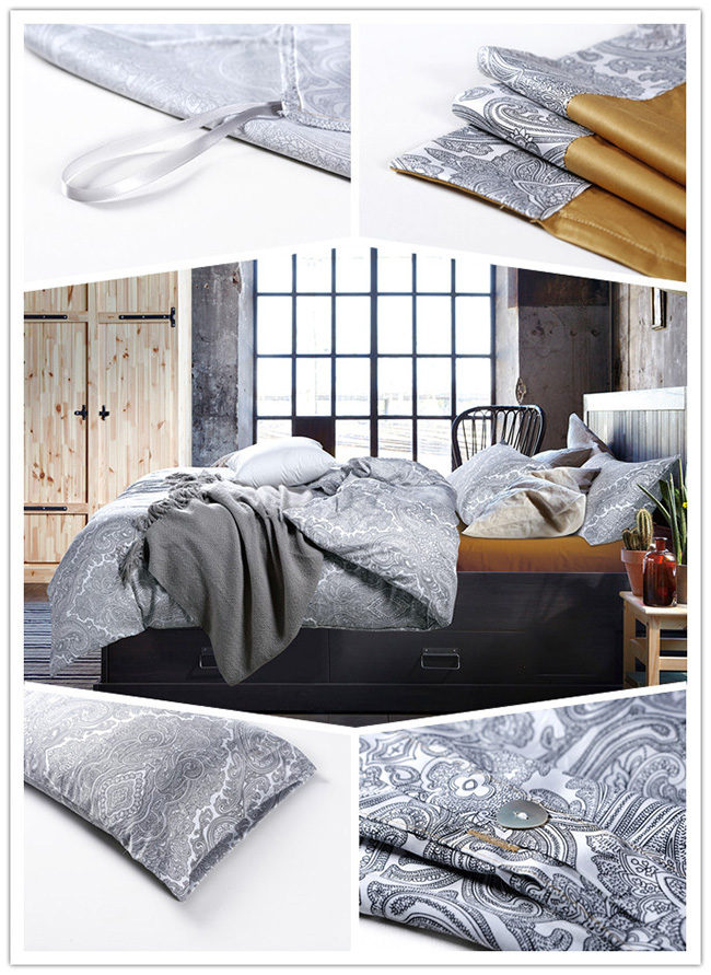 Wholesale 2015 New Grey Flower Printed Bedding Sets Bed Sheet Duvet Cover Beddings Home Textile