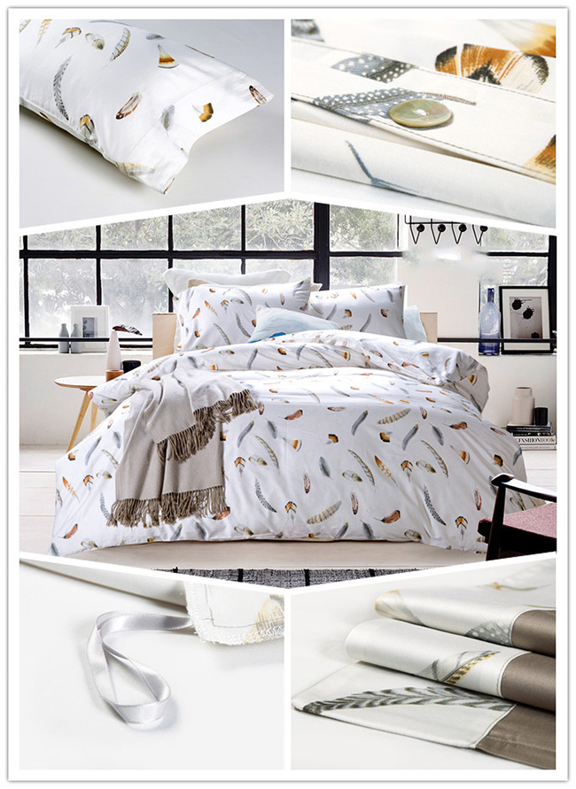 Wholesale 2015 Fashion Plume Printed Bedding Sets Bed Sheet Duvet Cover Beddings Home Textile