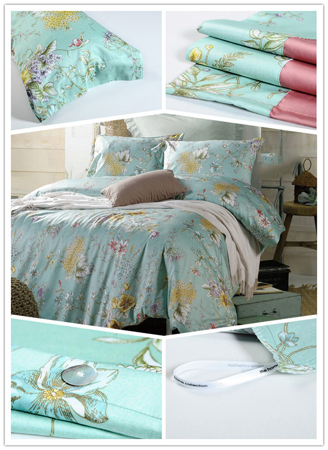 Wholesale Green Flowers Printed Beddings Sets Bed Sheet Duvet Cover Home Textile