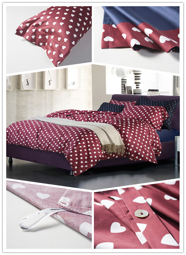 Wholesale Beddings Sets 2015 New Heart Printed Bed Sheet Duvet Cover Home Textile
