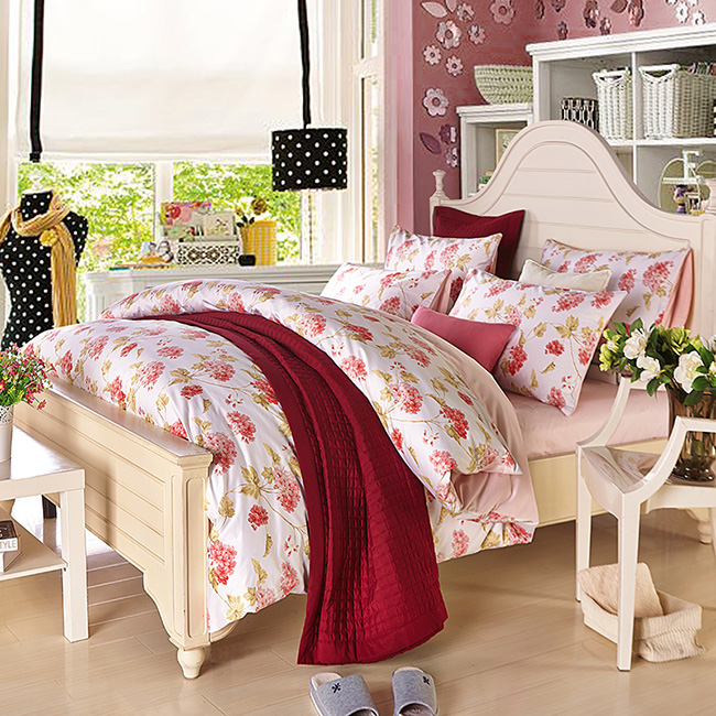 2015 New Fashion Pink Beddings Sets Printed Flowers Bed Sheet Duvet Cover Home Textile