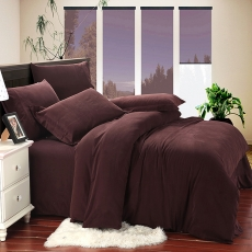 Wholesale Fashion Coffee Sanding Cotton Bedding Sets Bed Sheet Duvet Cover Home Textile