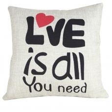 IBraFashion Cotton Linen Square Cushion Cover Love is All You Need Sofa Throw Pillow Cover