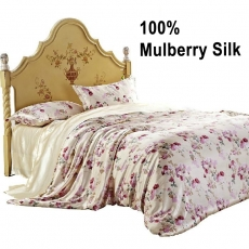 IBraFashion 4 Pcs Mulberry Charmeuse Silk Sheets Set Pastoral Floral printed bedding Queen(EU)