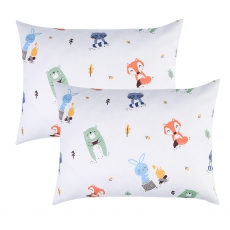 IBraFashion Kids Toddler Pillowcases 100% Cotton 14x19 2 Packs Cute Animals Rabbits, Bears, Foxes