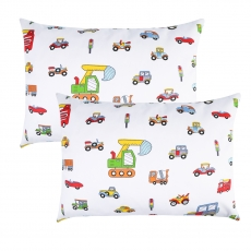 IBraFashion Kids Toddler Pillowcases 100% Cotton 14x19 2 Packs Construction Vehicle Cars
